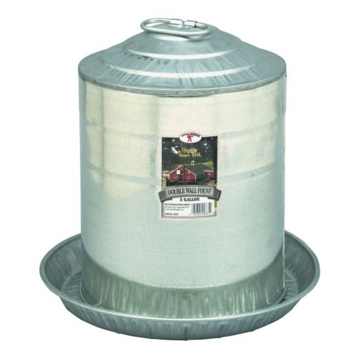 DPD Little Giant 5 Gallon Double Wall Metal Poultry Fountain