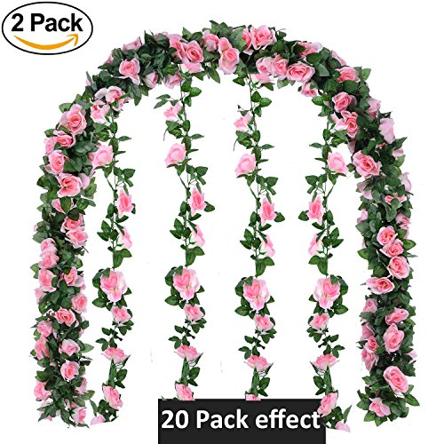 Flowers That Never Die - DearHouse Artificial Flower Rose Vine Garland 8FT/Piece Realistic Artificial Flowers Fake Roses Flowers Plants for Home Kitchen Wedding Party Garden Craft Art Decor (2 Pack, Pink)