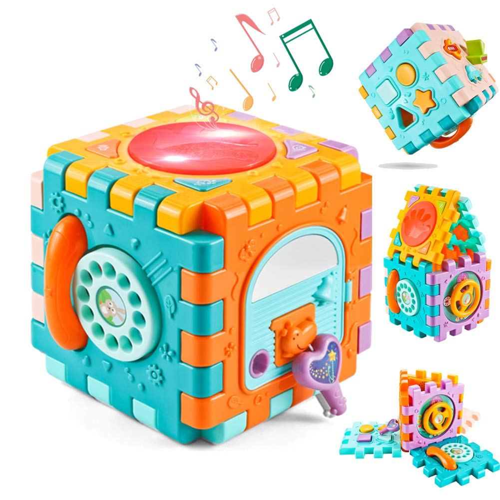 ZMZS Baby Cube Activity Center Best Toys for 6 to 12 Month Old, 6 in 1 Toddler Toys Drum Set Sort and Discover Activity Cube, Busy Learners Educational Gift for 1 2 Years Old Boys Girls