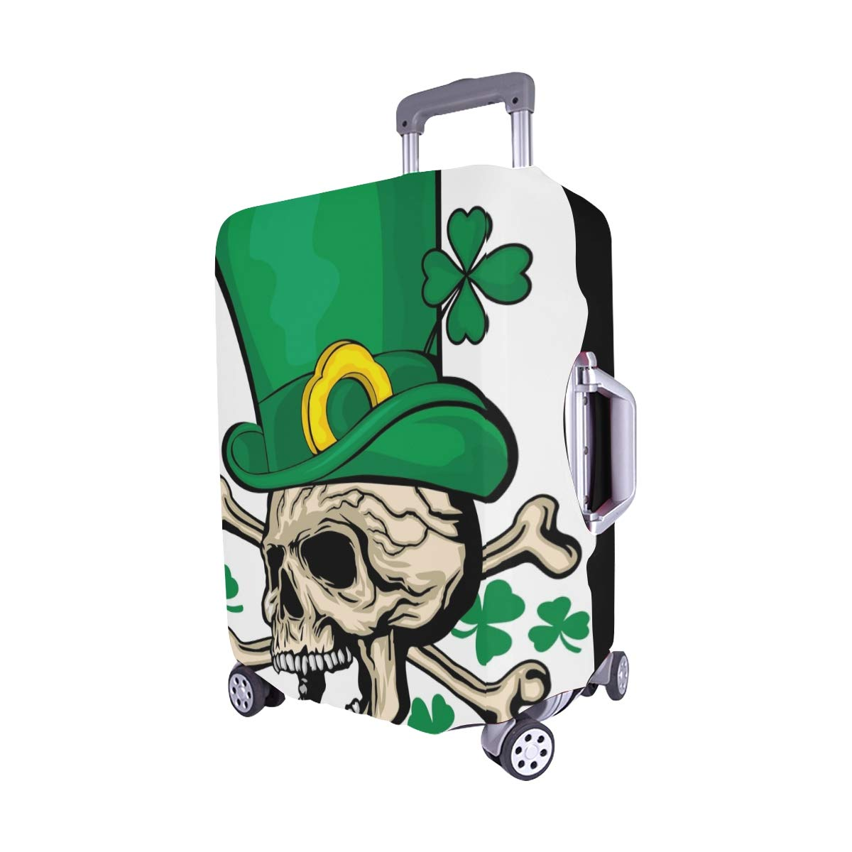 Irish Skull Clover Grunge Vintage Design Spandex Trolley Case Travel Luggage Protector Suitcase Cover 28.5 X 20.5 Inch