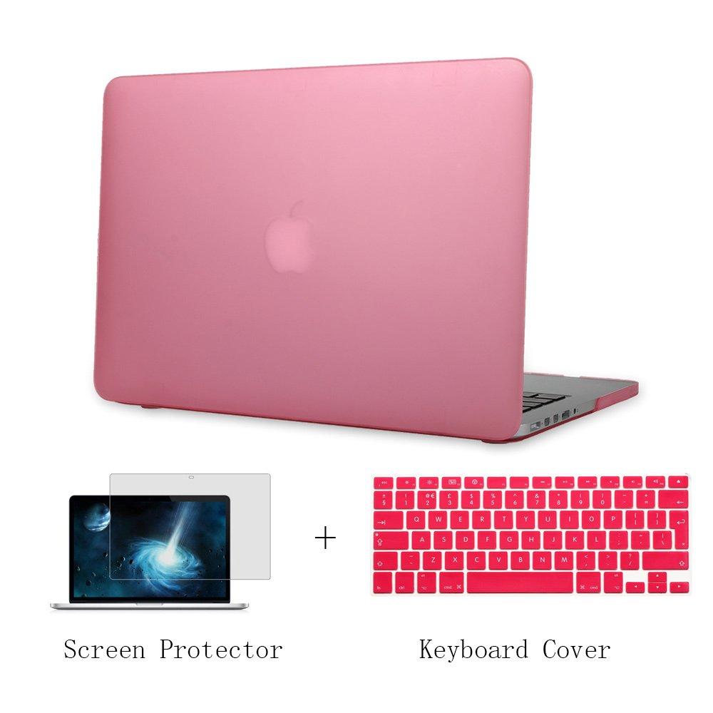 Batianda Plástico Funda Dura Carcasa para MacBook Air 11 pulgadas & Cubierta del Teclado & Protector de Pantalla,Rosado
