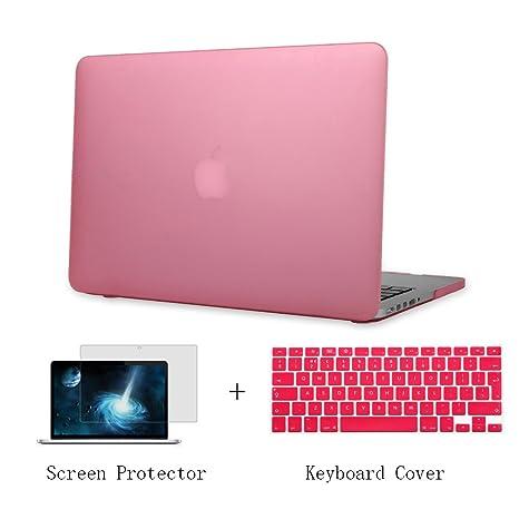 Batianda Plástico Funda Dura Carcasa para MacBook Pro 13 pulgadas con CD-Rom & Cubierta del Teclado & Protector de Pantalla,Rosado