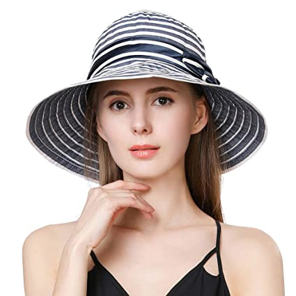 26aaee61 Fancet Womens Roll Up Packable Sun Bucket Hat Beach Safari SPF Protection  Fishing Bonnie Black and