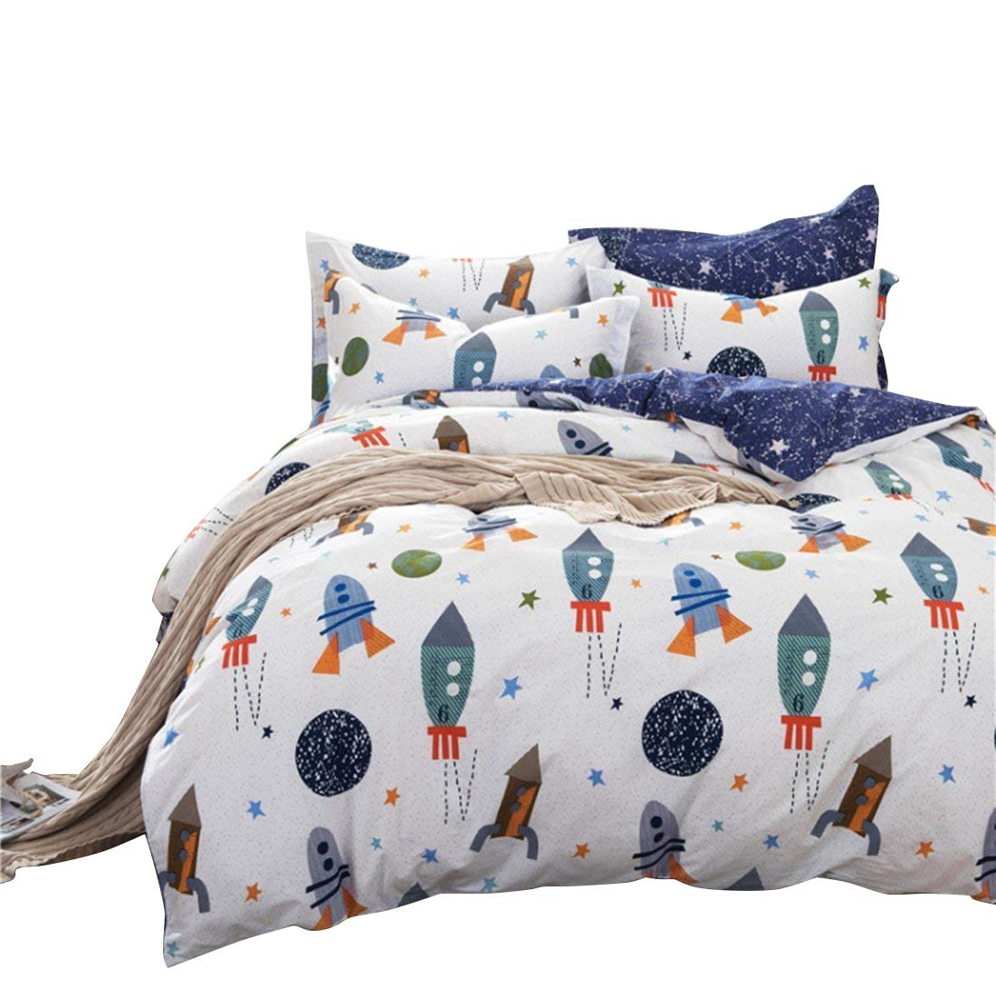 High Quality HNNSI Cotton Space Kids Boys Bedding Sets 4 Piece Full Size, Kids Duvet  Cover With Flat Sheets, Rocket Galaxy Comforter Cover For Children Teens  (Full Flat ...