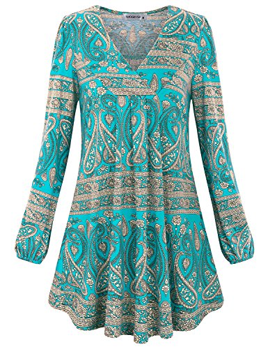 (MOQIVGI Floral Tunic, Womens Loosely Relaxed Fit Gradient Tops Long Sleeve V-Neck Modern Evening T-Shirts Bohemian Designer Knit Blouses Green XX-Large)