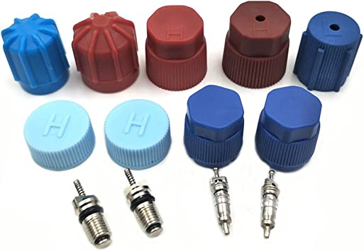 2Pcs High and Low Pressure AC A//C System Valve Cap Air Conditioning Service Blue