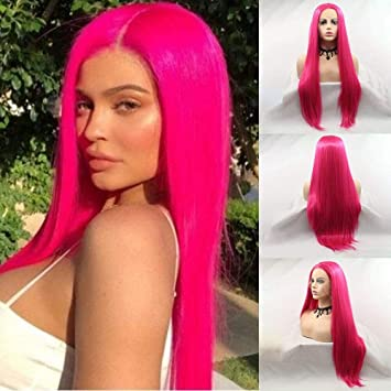 KARISSA Kylie Jenner Hair style Rose Red Long Synthetic Lace Front Wigs for  Women Dark Pink Lace Wig with Middle Part Glueless Heat Resistant Fiber