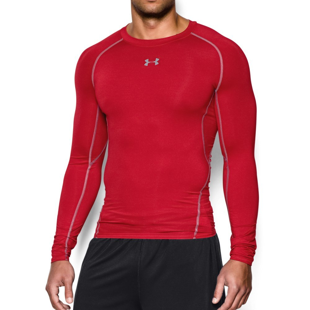 Under Armour Men's HeatGear Long Sleeve Compression Shirt, Red (600)/Steel Small