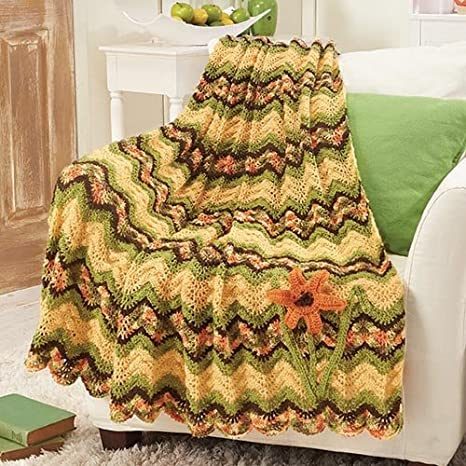Herrschners May: Tiger Lily Ripple Afghan Crochet Afghan Kit
