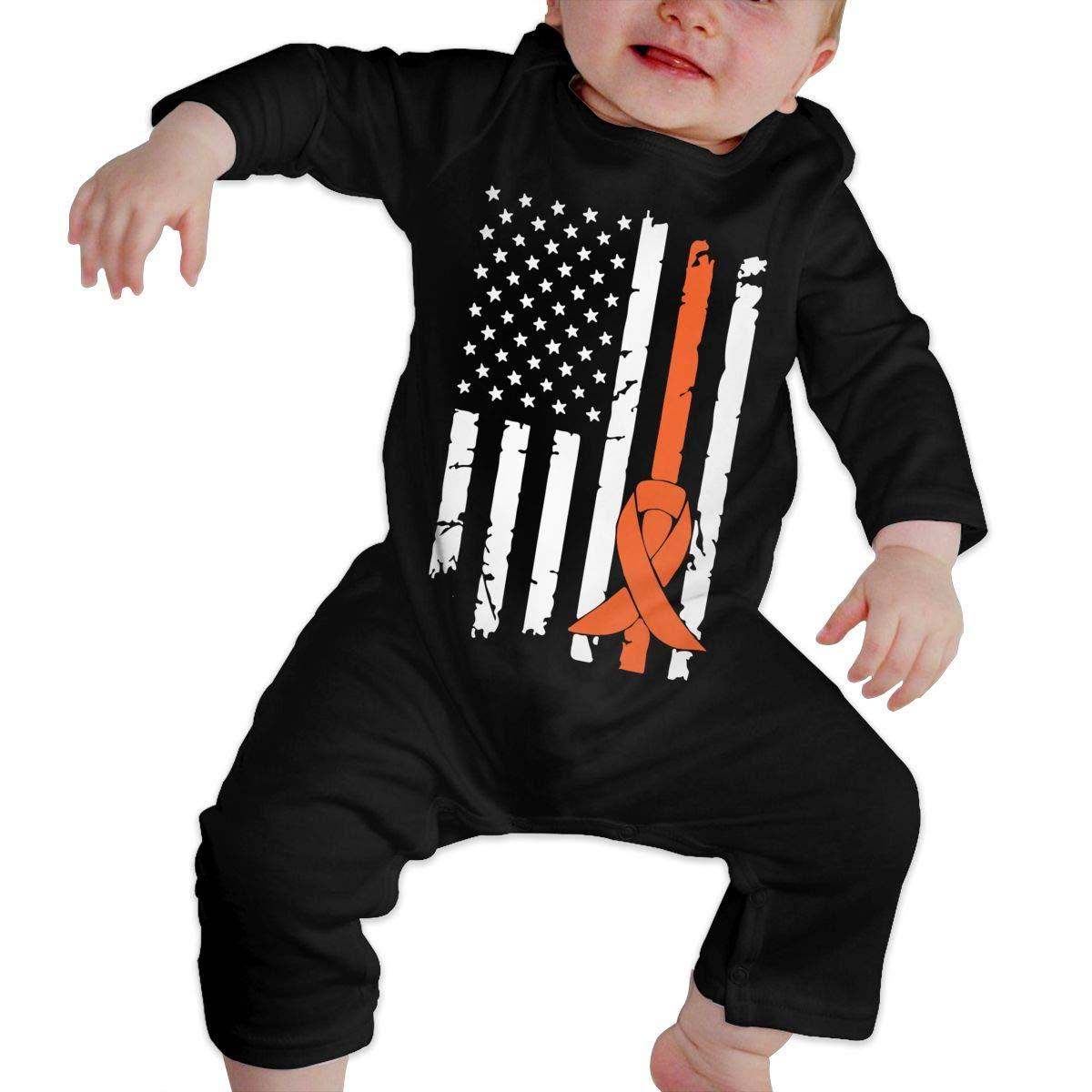 LBJQ8 Kidney Cancer Awareness USA Flag Baby Boy Girl Essential Basic Bodysuits Coverall Jumpsuit