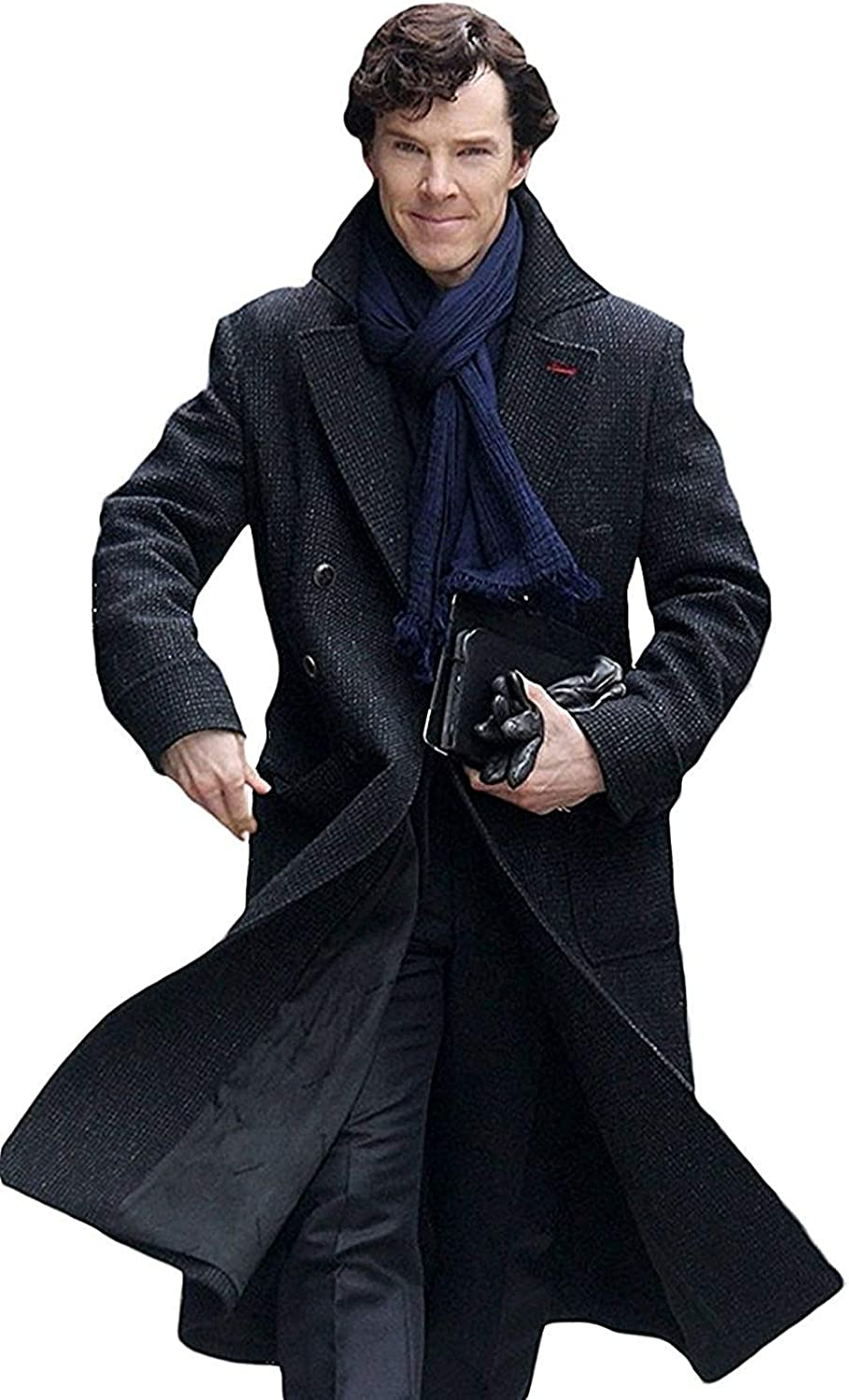 Sherlock Holmes Bandit Cumberbatch Detective Style Black Wool Long Trench Coat Warm Jacket