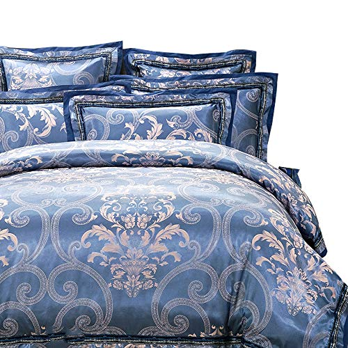 MKXI Paisley Sateen Jacquard Bedding for Adult Baroque Bordered Duvet Cover Set Queen Size, 3 (Baroque Comforter Set)