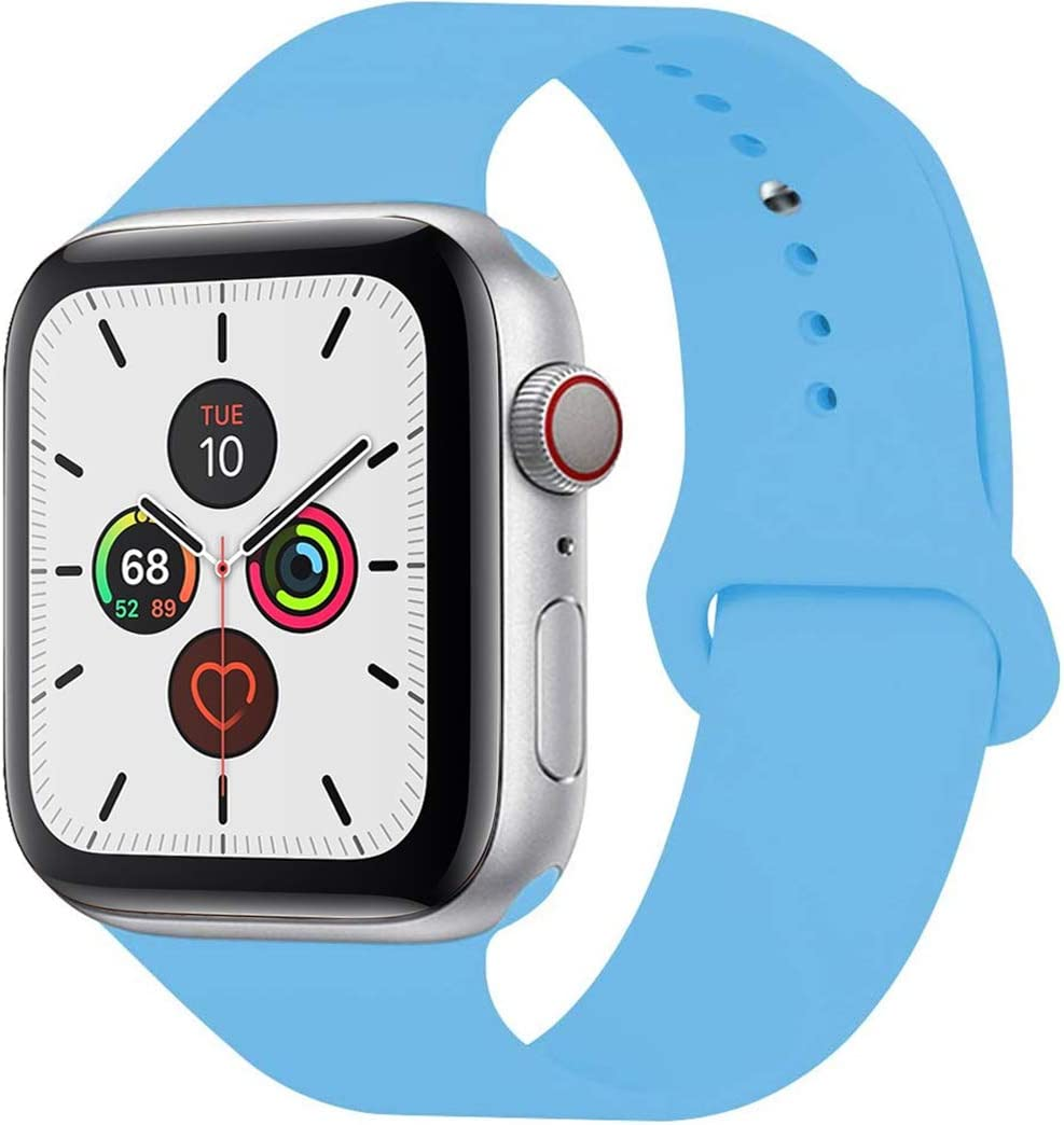 Band Compatible with Apple Watch, Lightweight Breathable Soft Silicone Replacement Band Compatible with 2019 Apple Watch Series 5, iWatch 4/3/2/1, Sport, Nike+, Edition (6# Blue, 38/40mm S/M)