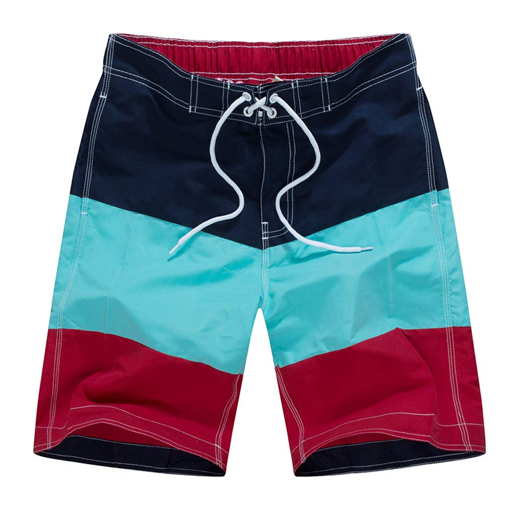 Mens Quick Dry Swimtrunks Patchwork Board Short Summer Holidays Beachwear Bathing Suits Zulmuliu