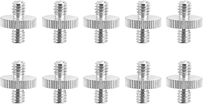 AkoMatial 10Pcs Metal Dual Heads 1//4 inch Male to MaleThreaded Tripod Screw Adapter for Camera Bracket Flash Mount Holder Stand