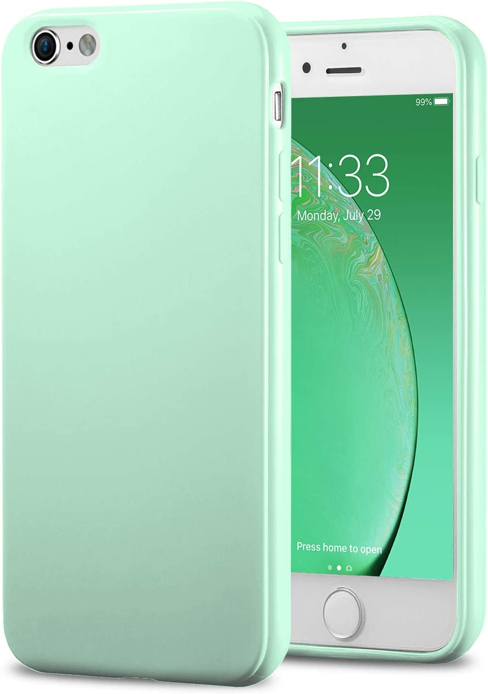 TENOC Phone Case Compatible for Apple iPhone 6S and iPhone 6 4.7 Inch, Slim Fit Cases Soft TPU Bumper Protective Cover, Glossy Mint
