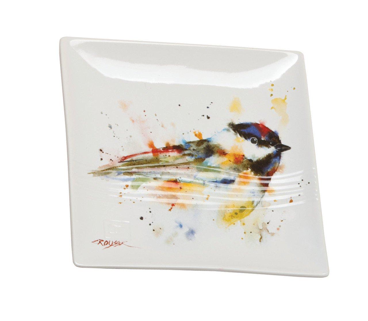 Demdaco B5050117 Big Sky Carvers Chickadee Snack Plate, Multicolored