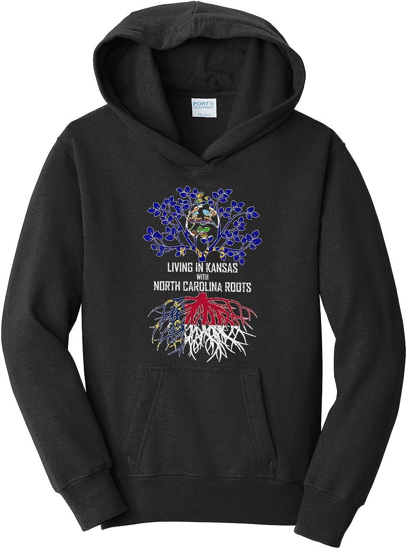 Tenacitee Girls Living in Kansas with North Carolina Roots Hooded Sweatshirt