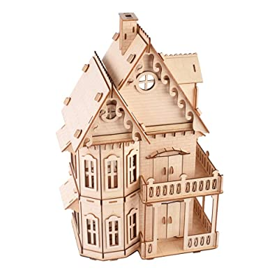 3D Wooden Puzzle for Adults Gothic Villa Model for Boyfriend,Kids,Husband,Christmas,Birthday Gift Model Assembly Wooden Craft Home Decors Adult Craft Kits Cool Wooden Model Kit Home Decoration: Toys & Games