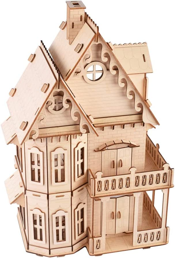 ROBOX 3D Wooden Puzzle for Adults Gothic Villa Cool Wooden Model Kit Home Decors Adult Craft Assembly Kits Gifts for Boyfriend,Husband,Christmas,Birthday Home Decoration
