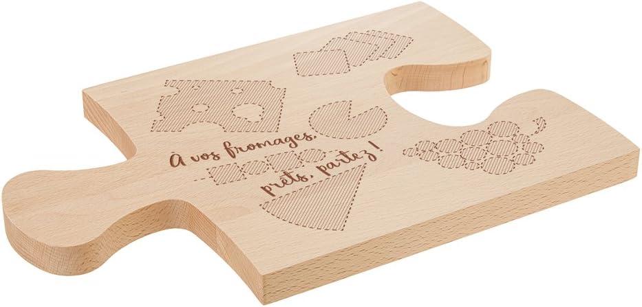 Casa Vivente Planche /à D/écouper en Bois 15 x 23 CM Pi/èce de Puzzle Plateau /à Fromage /À Vos Fromages