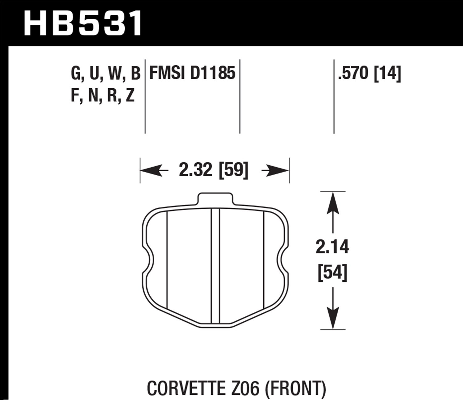 Hawk Performance HB531Z.570 Performance Ceramic Brake Pad