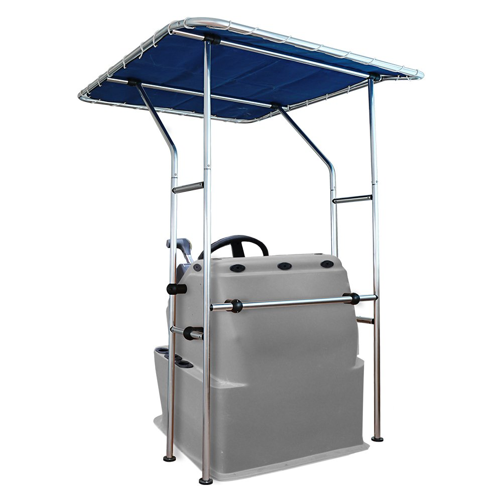 UV Rated Marine Canvas Eevelle Summerset T-Top Center Console Bimini Shade Frame and Canvas 68 L x 56 W x 79 H