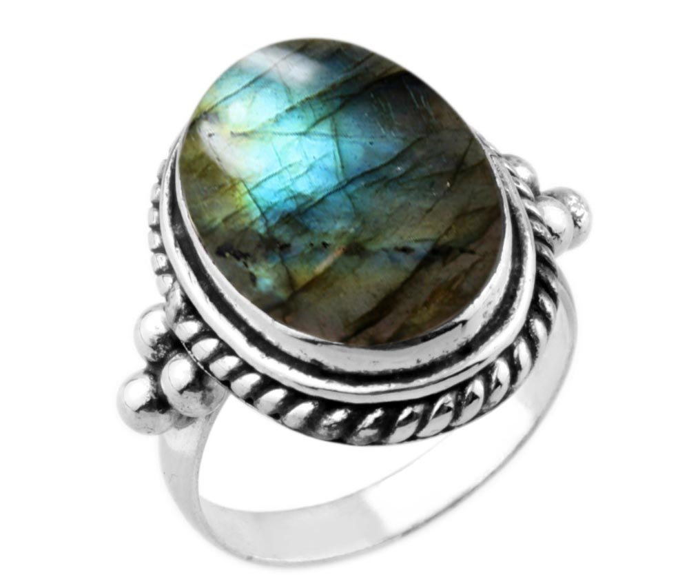 8.90ctw,Genuine Labradorite 12x16mm Oval & .925 Silver Plated Handmade Ring (Size-5.5)