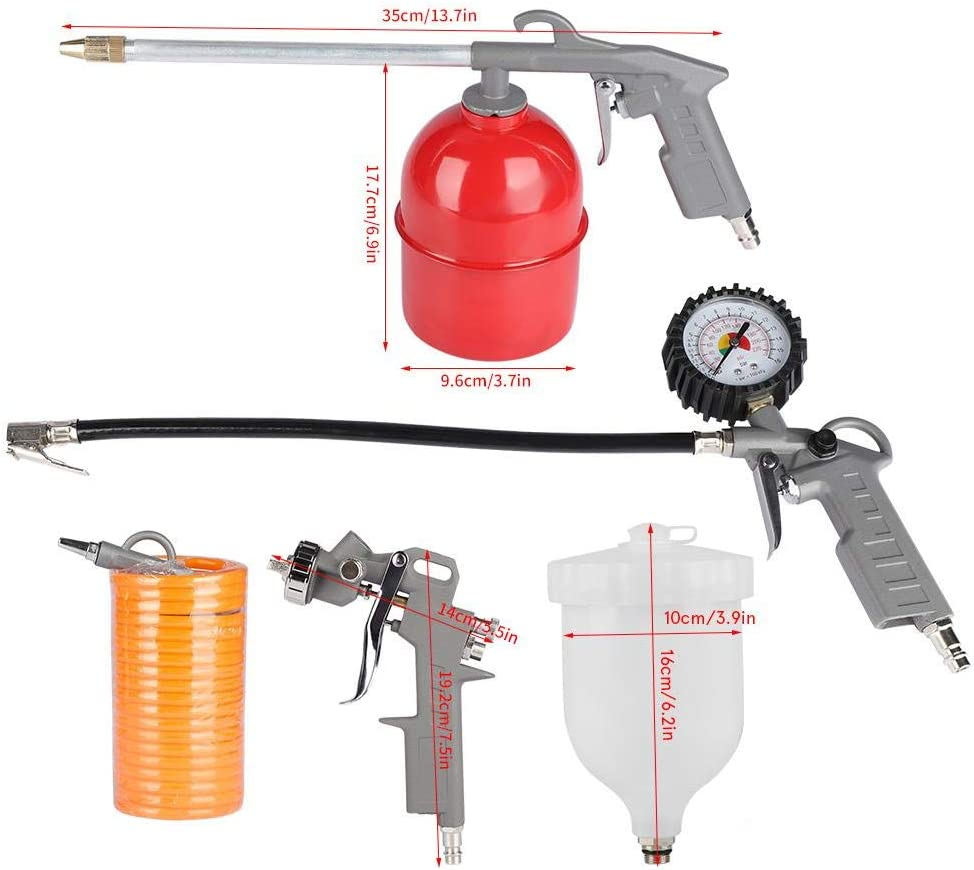 convient pour compresseurs dair kit air compress/é accessoires pour compresseurs dair pistolet 5 pi/èces Pistolet de soufflage