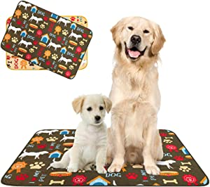 "PUPTECK Washable Pee Pads for Dogs - 2 Pack Reusable Puppy Potty Training Mats, Anti-Slip Dog Whelphing Pads, Waterproof Pet Food Water Bowls Mats, 24""x36"""
