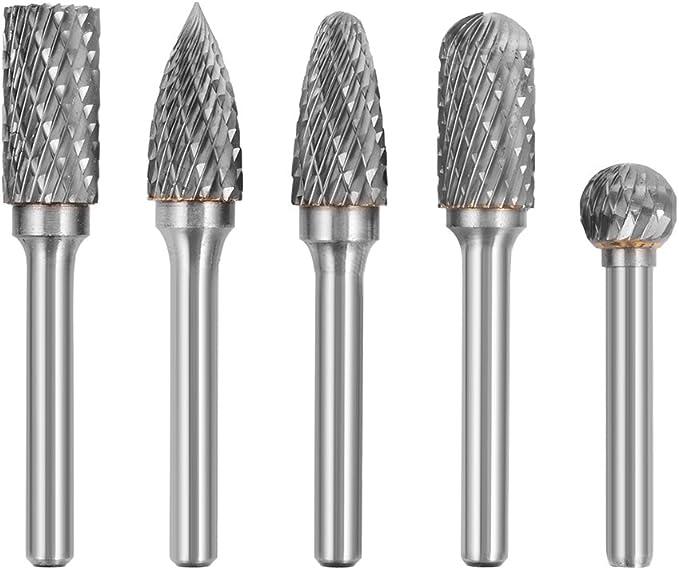 10Pcs Tungsten Carbide Double Cut Rotary Burr Die Grinder Bit Shank Carving Set