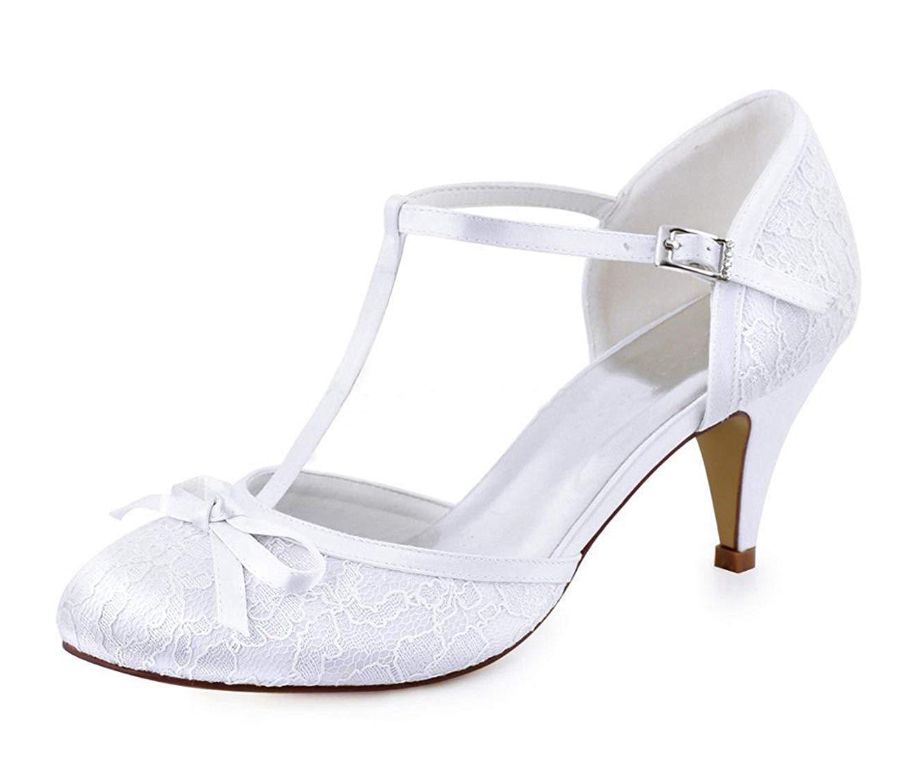 Qiusa Damen Knoten Retro Schöne Weiße Spitze Braut Hochzeit T-Strap Schuhe UK 6 (Farbe   - Größe   -)