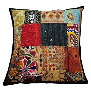 Cojín Kutch bordado Cubierta 45 cm Patchwork Funda de almohada decorativa Throw India Regalo 18 pulgadas