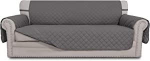 Easy-Going Sofa Slipcover Reversible Sofa Cover Water Resistant Couch Cover Furniture Protector with Elastic Straps for Pets Kids Children Dog Cat(Oversized Sofa, Gray/Gray)