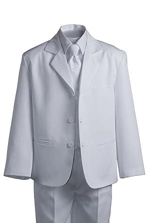 6d4e6977c Amazon.com: Boys Husky White Suit with Vest and Communion Cross Tie ...
