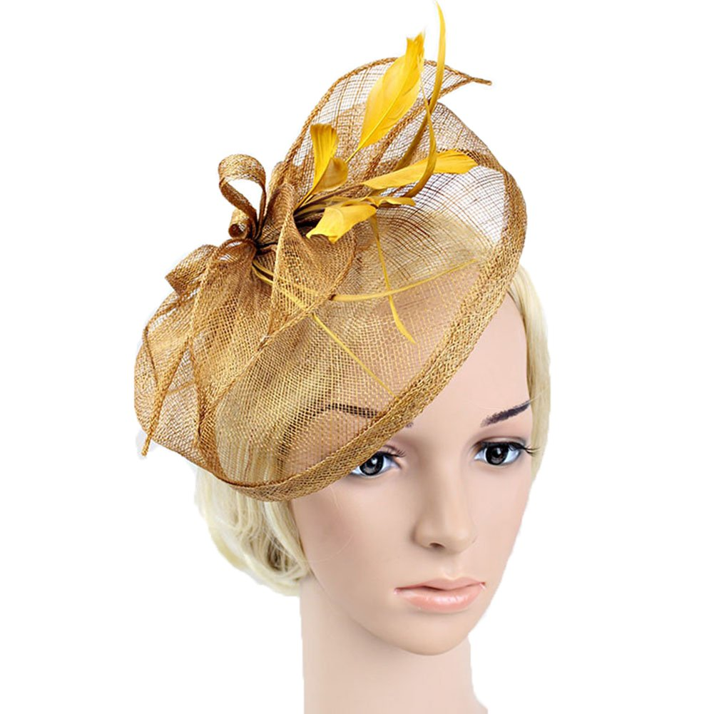 BAOBAO Women Feather Net Sinamay Fascinator Hat with Hair Clip Wedding Tea Party Derby