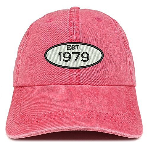 Trendy Apparel Shop Established 1979 Embroidered 40th Birthday Gift Pigment Dyed Washed Cotton Cap - ()