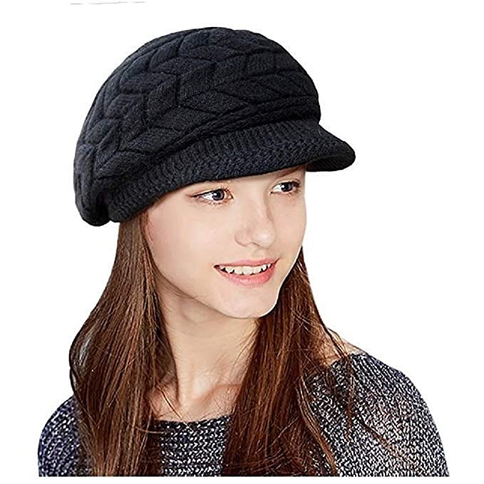 19b2d48f7bb1eb Image Unavailable. Image not available for. Color: Winter Beret Hat Fleece  Lined Ski Peak Cap Thick Warm Knit Hat for Women Girls