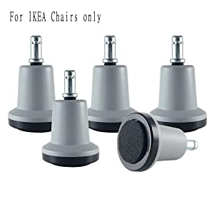 Enjoy Bell Glides Replacement for Stationary Office Chair Furniture with Felt Pads Fit IKEA Chairs - Gray/Black (Set of 5) (Large) (GL-GB336356-BFP-IK)