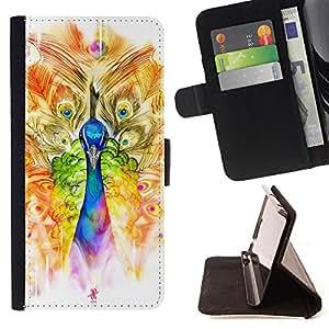 Dragon Case- Caja de la carpeta del caso en folio de cuero del tirš®n de la cubierta protectora Shell FOR LG OPTIMUS L90- Feather Colorful