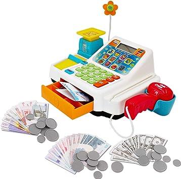 deAO Caja Registradora Electrónica de Juguete con Escáner, Micrófono, Cinta y Lector de Tarjetas Conjunto de Accesorios de Tienda y Supermercado Infantil Incluye Alimentos de Juguete: Amazon.es: Juguetes y juegos