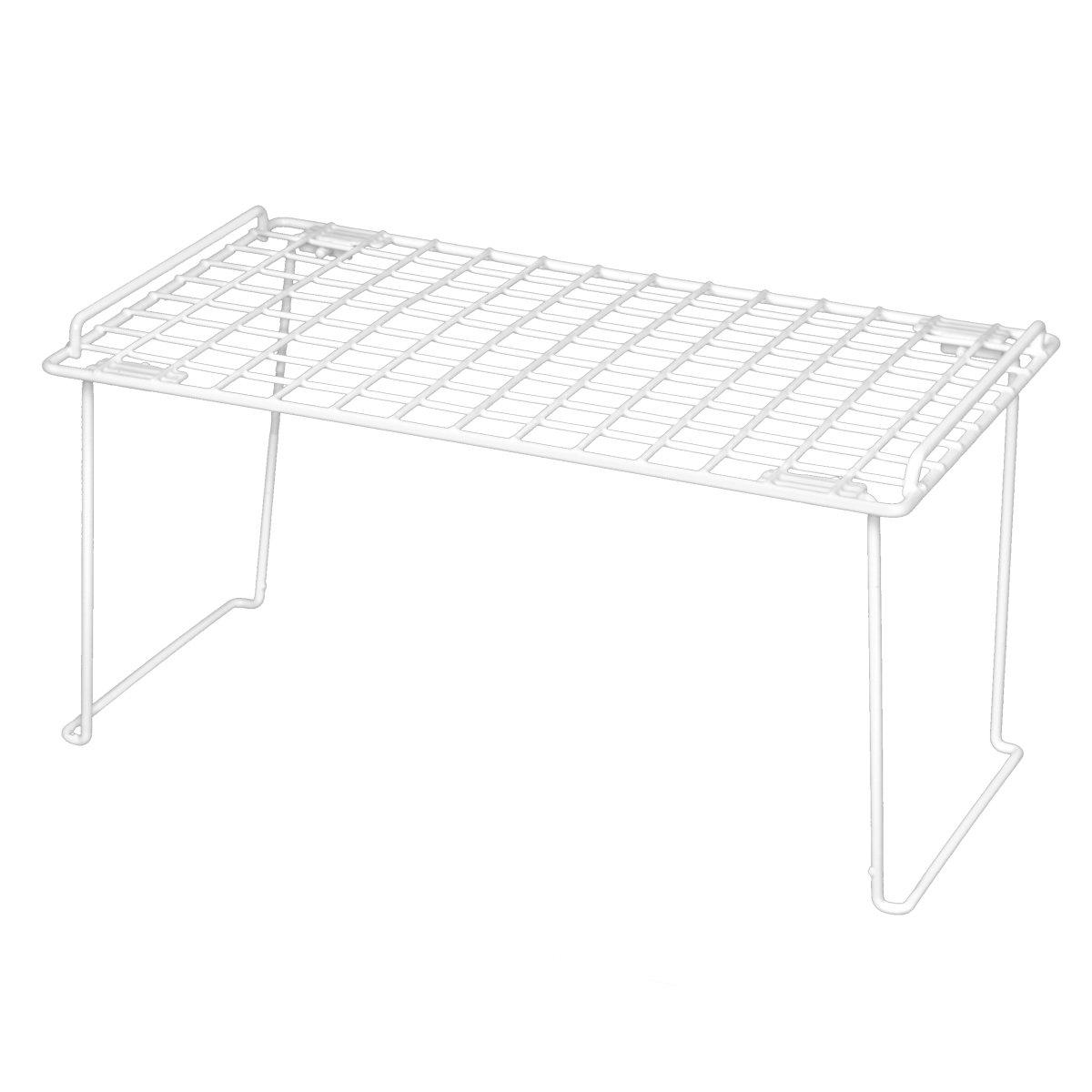 Smart Design Stacking Shelf w/Sturdy Legs - Small - Steel Metal Frame - Rust Resistant Coating - Counter, Pantry, Shelf Organization - Kitchen (12 x 7 Inch) [Bronze]