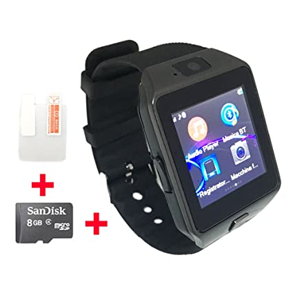OCTelect GSM smart watch DZ09 with three LED lights & large capacity battery (black)