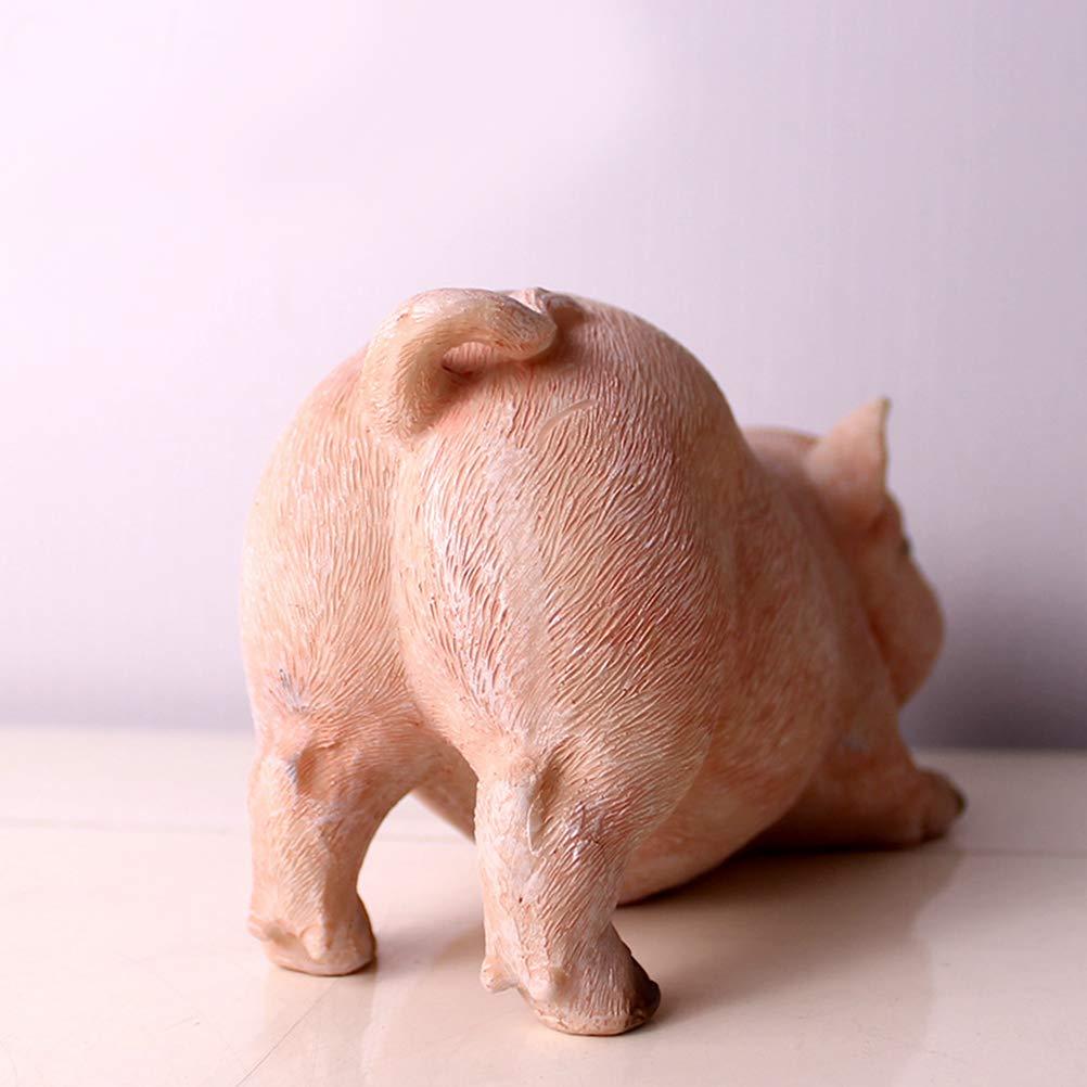 NUOBESTY Animaux Statues De Jardin Mignon R/ésine Porc Fgures Pelouse Sculpture en Plein Air Ornements Figurines