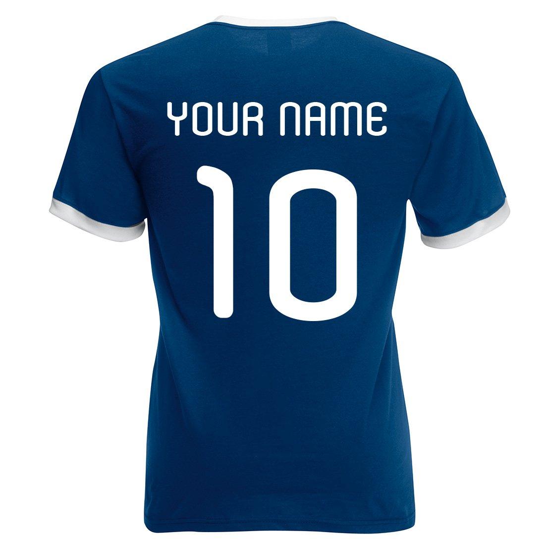 CUSTOM-MADE Hombre personalizable Retro camiseta de fútbol Argentina, Hombre-Mujer, color Azul Marino Y Blanco, tamaño medium: Amazon.es: Ropa y accesorios