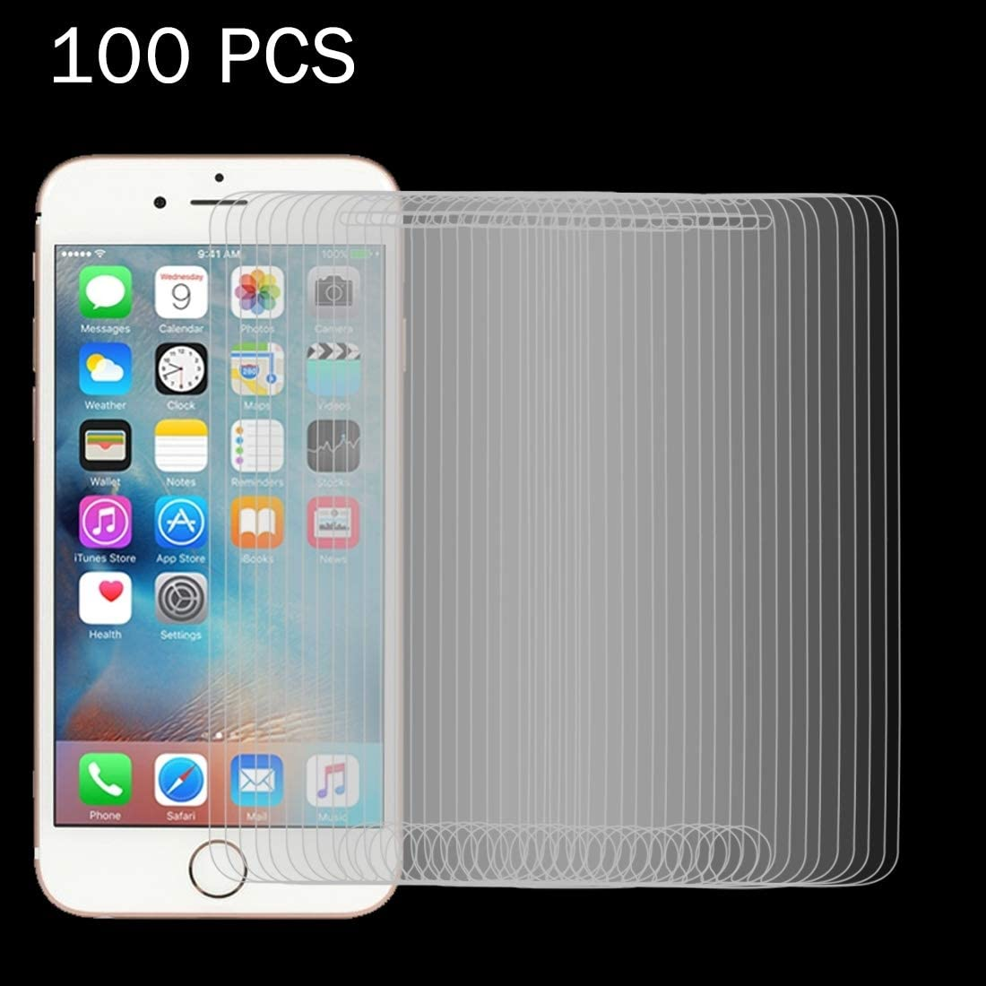 Surface Hardness 2.5D Explosion-Proof Tempered Glass Film Anti-Scratch CAIFENG Tempered Glass Film Screen Protector 100 PCS for iPhone 6 Plus0.26mm 9H