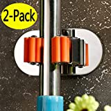 single broom holder - Funey Suction Hooks and Broom Holder with Spring Clip, 2 Pieces