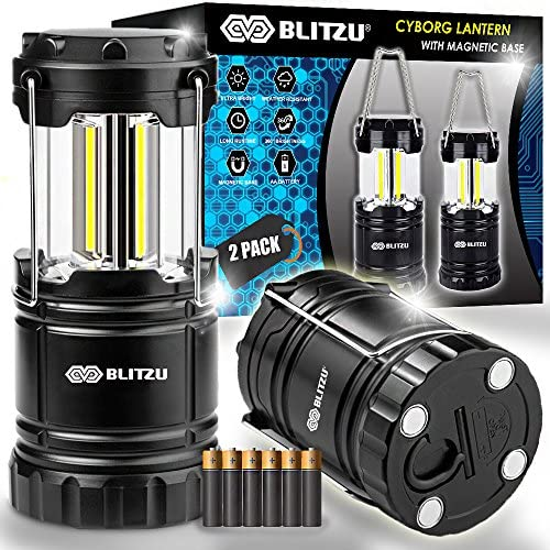 Blitzu LED Lantern with Magnetic Base 2 PACK Battery Powered and Operated Camping Lanterns with Hanging Hook – Best Outdoor, Indoor, Hurricane, Emergency Light, Tent Lamp