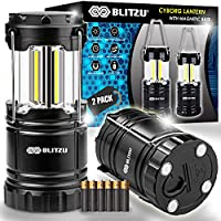 2-Pack Blitzu Battery Powered and Operated Camping LED Lanterns with Hanging Hook