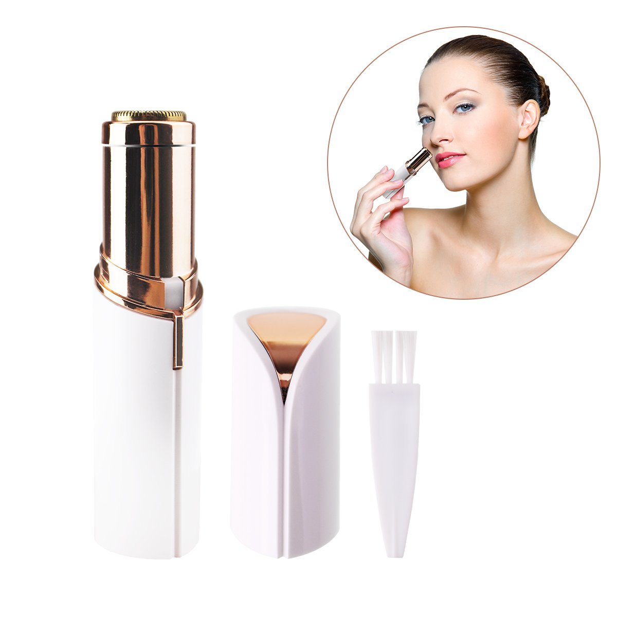 Painless Hair Remover for Women Face Lip Chin Cheeks Sideburns, Jelaty Portable Mini Electric Shaver Facial Hair removal with LED Light, 1 AA Battery Included